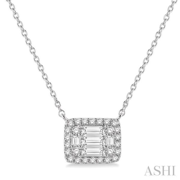 1/2 ctw Baguette and Round Cut Diamond Pendant Necklace in 14K White Gold Trinity Diamonds Inc. Tucson, AZ
