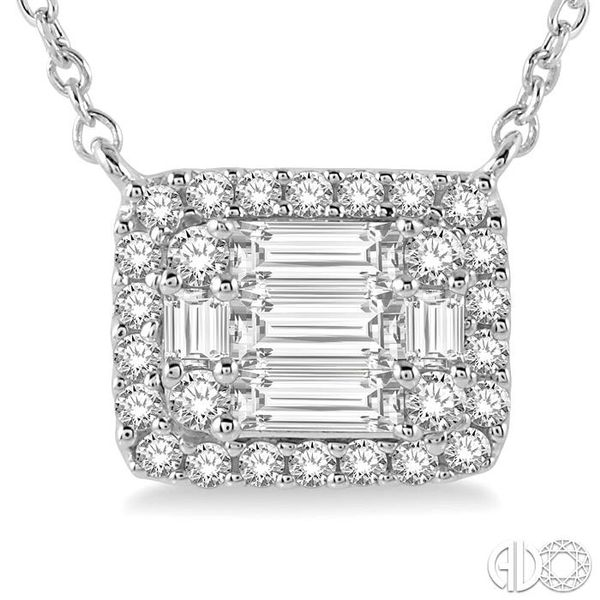 1/2 ctw Baguette and Round Cut Diamond Pendant Necklace in 14K White Gold Image 3 Trinity Diamonds Inc. Tucson, AZ