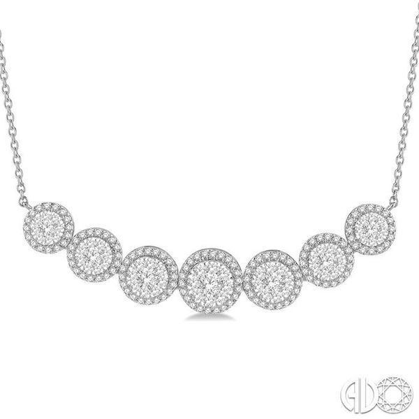 1 1/5 ctw Circular Mount Lovebright Round Cut Diamond Necklace in 14K White Gold Image 3 Trinity Diamonds Inc. Tucson, AZ