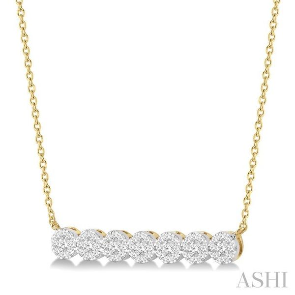 1/2 ctw Circular Mount Bar Lovebright Round Cut Diamond Necklace in 14K Yellow and White Gold Image 2 Trinity Diamonds Inc. Tucson, AZ
