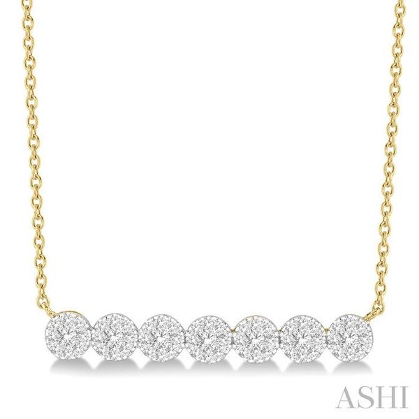 1/2 ctw Circular Mount Bar Lovebright Round Cut Diamond Necklace in 14K Yellow and White Gold Trinity Diamonds Inc. Tucson, AZ