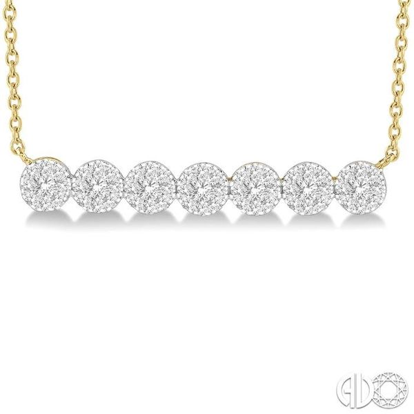 1/2 ctw Circular Mount Bar Lovebright Round Cut Diamond Necklace in 14K Yellow and White Gold Image 3 Trinity Diamonds Inc. Tucson, AZ