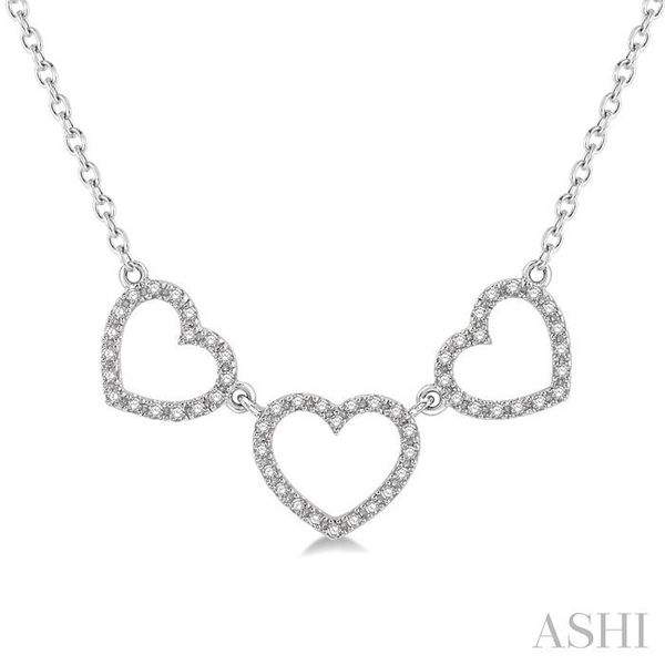 1/6 Ctw Triple Heart Round Cut Diamond Necklace in 10K White Gold Trinity Diamonds Inc. Tucson, AZ