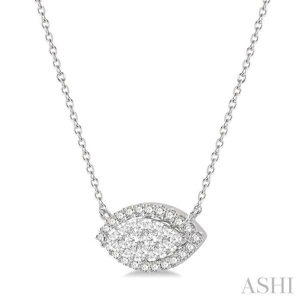1/2 ctw Marquise Shape Round Cut Diamond Lovebright Necklace in 14K White Gold Image 2 Trinity Diamonds Inc. Tucson, AZ