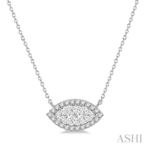 1/2 ctw Marquise Shape Round Cut Diamond Lovebright Necklace in 14K White Gold Trinity Diamonds Inc. Tucson, AZ