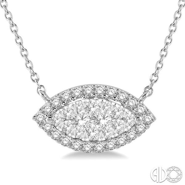 1/2 ctw Marquise Shape Round Cut Diamond Lovebright Necklace in 14K White Gold Image 3 Trinity Diamonds Inc. Tucson, AZ