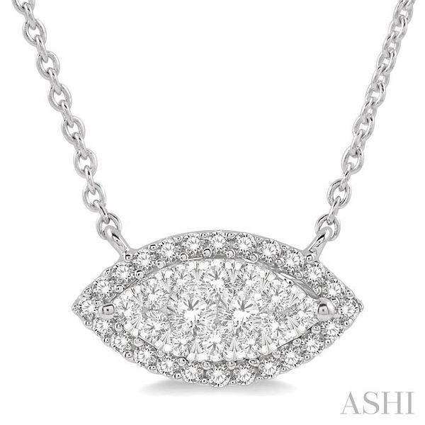 1/3 ctw Marquise Shape Round Cut Diamond Lovebright Necklace in 14K White Gold Trinity Diamonds Inc. Tucson, AZ