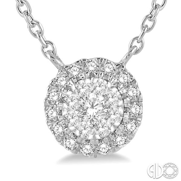 1/6 ctw Circular Pendant Round Cut Diamond Lovebright Necklace in 14K White Gold Image 3 Trinity Diamonds Inc. Tucson, AZ