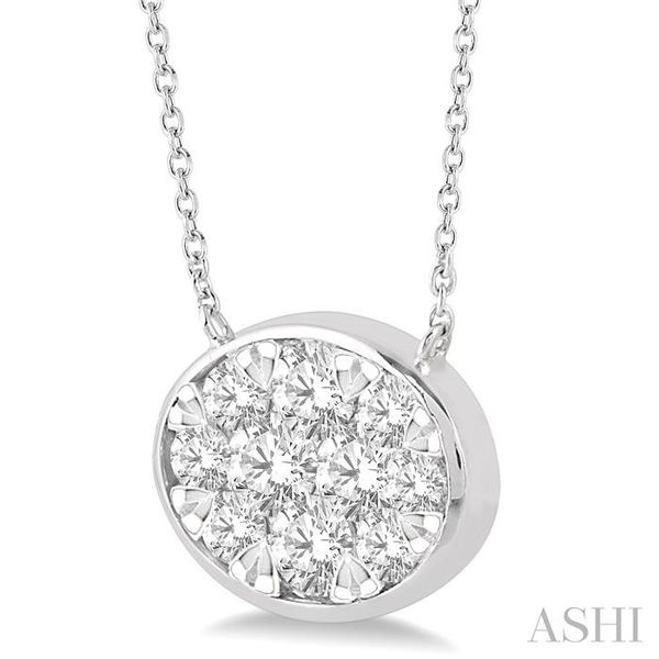 1 Ctw Oval Shape Pendant Lovebright Diamond Necklace in 14K White Gold Image 2 Trinity Diamonds Inc. Tucson, AZ