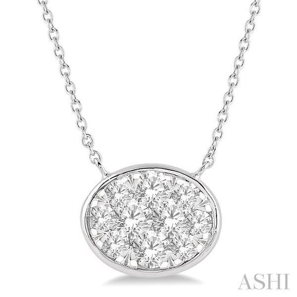 1 Ctw Oval Shape Pendant Lovebright Diamond Necklace in 14K White Gold Trinity Diamonds Inc. Tucson, AZ