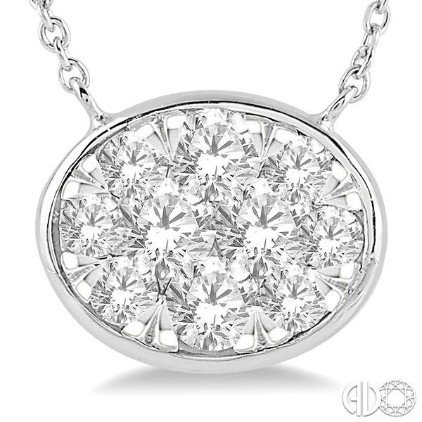 1 Ctw Oval Shape Pendant Lovebright Diamond Necklace in 14K White Gold Image 3 Trinity Diamonds Inc. Tucson, AZ