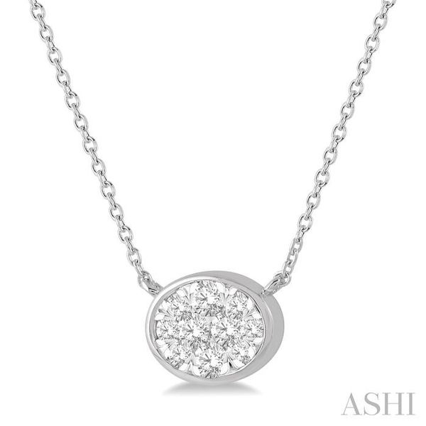 1/4 Ctw Oval Shape Pendant Lovebright Diamond Necklace in 14K White Gold Image 2 Trinity Diamonds Inc. Tucson, AZ