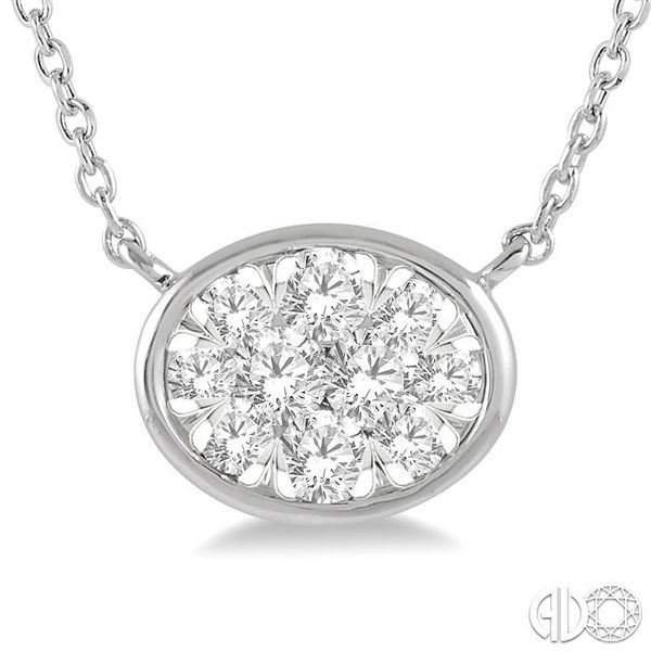 1/4 Ctw Oval Shape Pendant Lovebright Diamond Necklace in 14K White Gold Image 3 Trinity Diamonds Inc. Tucson, AZ