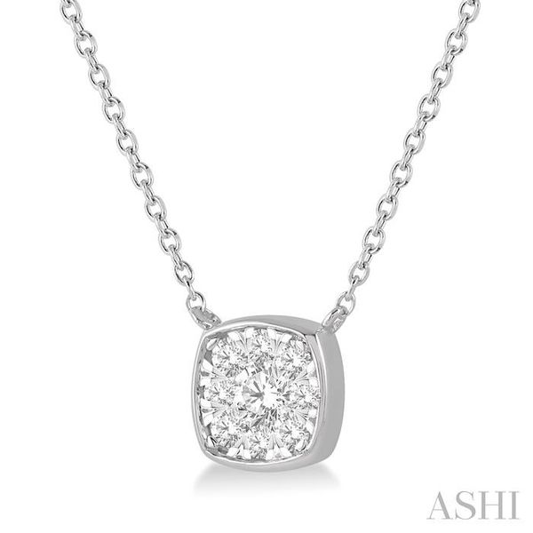 1/4 Ctw Cushion Shape Pendant Lovebright Diamond Necklace in 14K White Gold Image 2 Trinity Diamonds Inc. Tucson, AZ