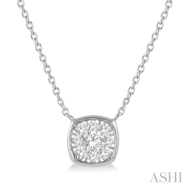 1/4 Ctw Cushion Shape Pendant Lovebright Diamond Necklace in 14K White Gold Trinity Diamonds Inc. Tucson, AZ