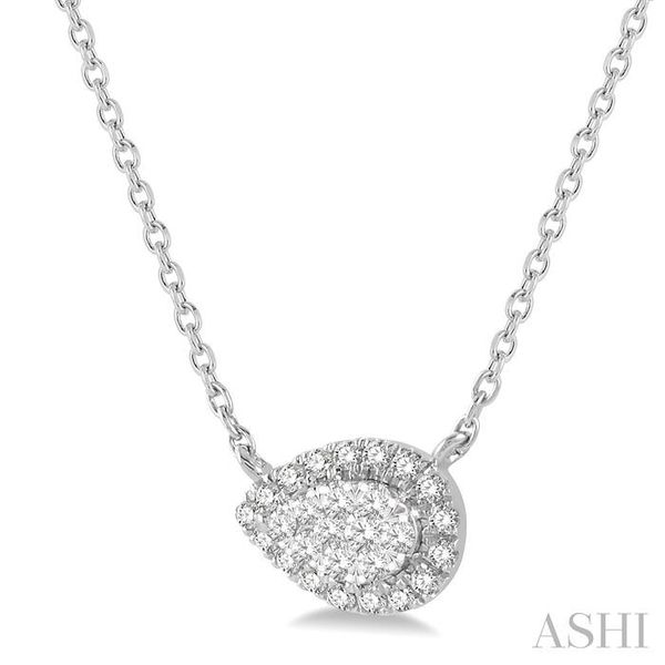 1/6 ctw Pear Shape Round Cut Diamond Lovebright Necklace in 14K White Gold Image 2 Trinity Diamonds Inc. Tucson, AZ