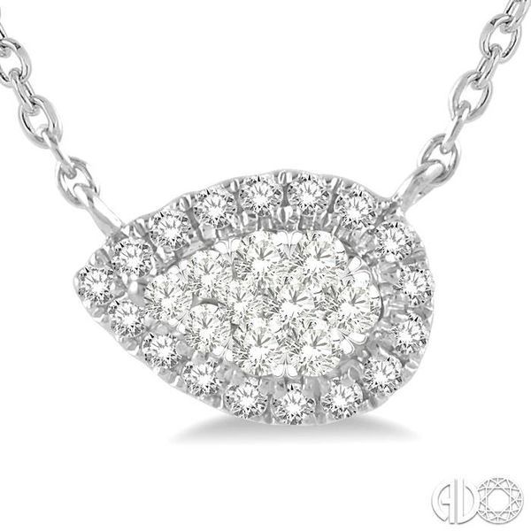 1/6 ctw Pear Shape Round Cut Diamond Lovebright Necklace in 14K White Gold Image 3 Trinity Diamonds Inc. Tucson, AZ