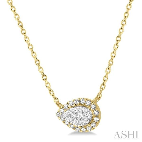1/6 ctw Pear Shape Round Cut Diamond Lovebright Necklace in 14K Yellow & White Gold Image 2 Trinity Diamonds Inc. Tucson, AZ