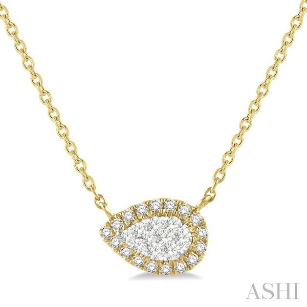 1/6 ctw Pear Shape Round Cut Diamond Lovebright Necklace in 14K Yellow & White Gold Trinity Diamonds Inc. Tucson, AZ