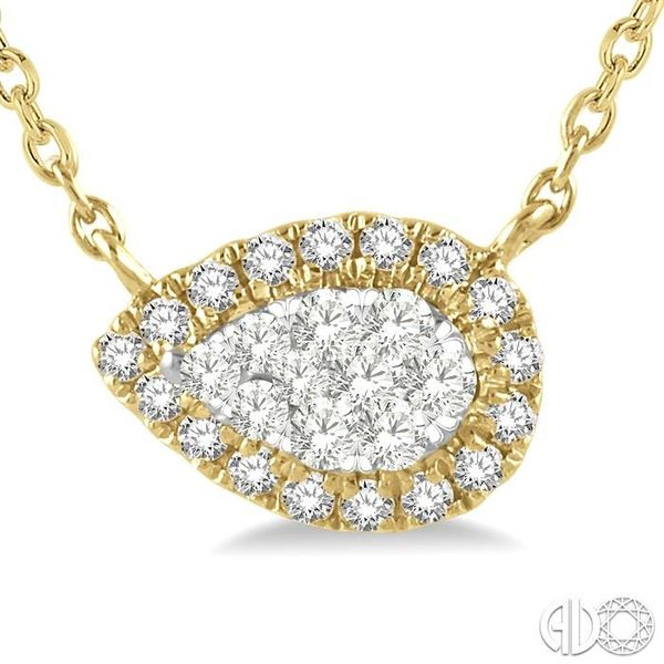 1/6 ctw Pear Shape Round Cut Diamond Lovebright Necklace in 14K Yellow & White Gold Image 3 Trinity Diamonds Inc. Tucson, AZ