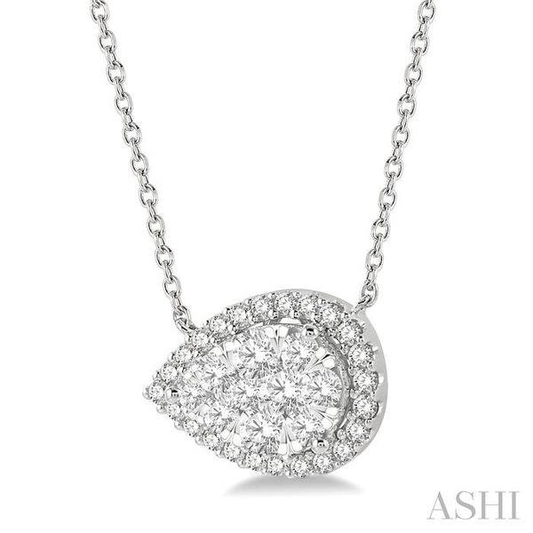 3/4 ctw Pear Shape Round Cut Diamond Lovebright Necklace in 14K White Gold Image 2 Trinity Diamonds Inc. Tucson, AZ