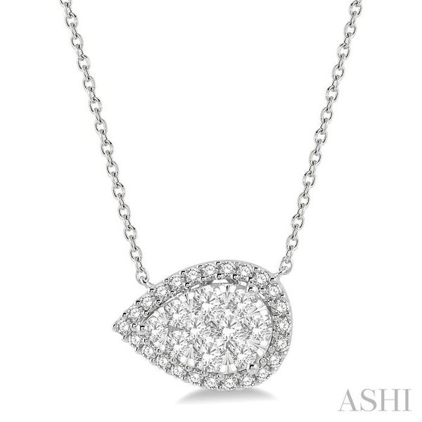 3/4 ctw Pear Shape Round Cut Diamond Lovebright Necklace in 14K White Gold Trinity Diamonds Inc. Tucson, AZ