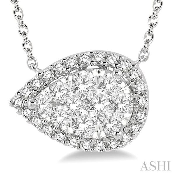 3/4 ctw Pear Shape Round Cut Diamond Lovebright Necklace in 14K White Gold Image 3 Trinity Diamonds Inc. Tucson, AZ