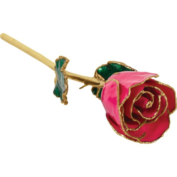 Lacquered Magenta Rose with Gold Trim Vandenbergs Fine Jewellery Winnipeg, MB