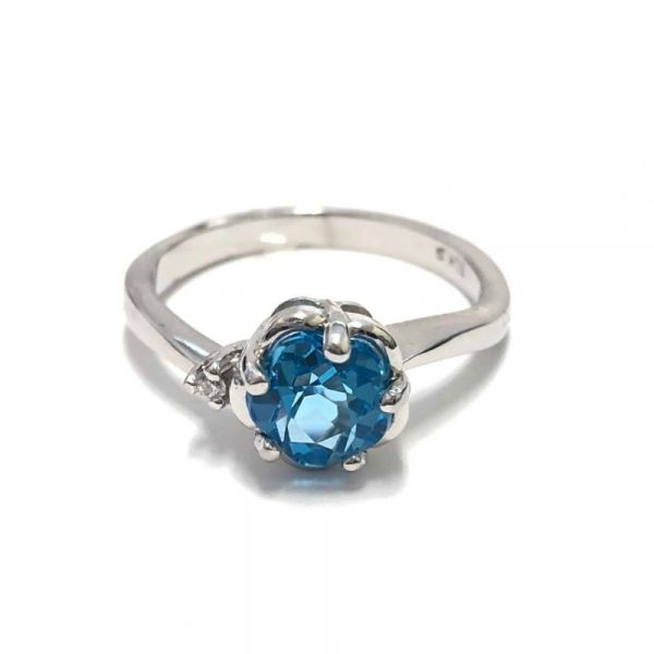 10KT White Gold Blue Topaz & Diamond Flower Ring Vandenbergs Fine Jewellery Winnipeg, MB