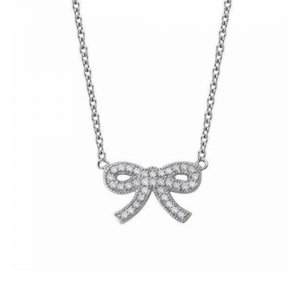 Sterling Silver CZ Bow Necklace Vandenbergs Fine Jewellery Winnipeg, MB