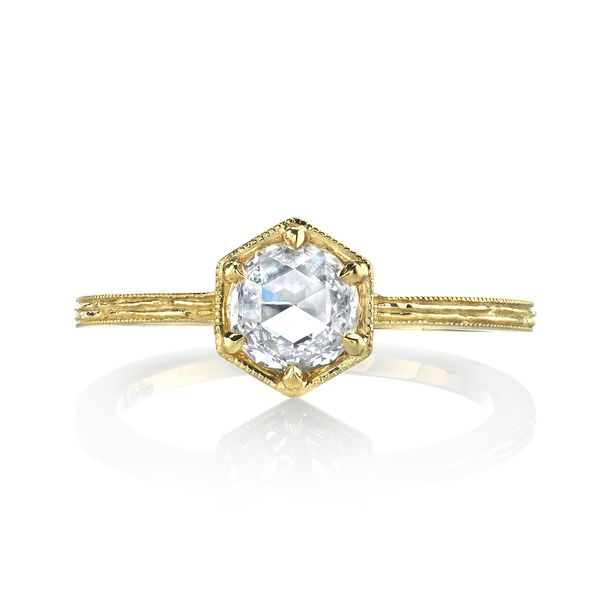 18K Yellow Gold Dia Eng Ring 1rc=0.40 t.w. - image 2