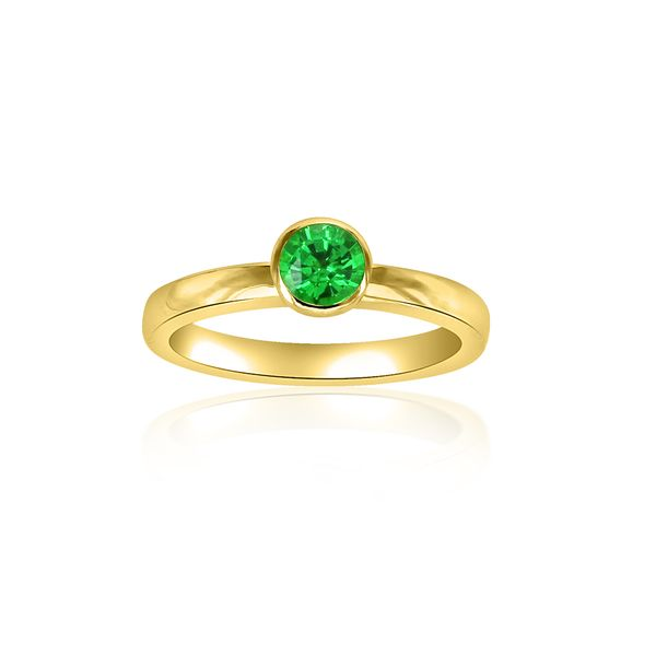 Tsavorite 18KY Bezel Set Ring