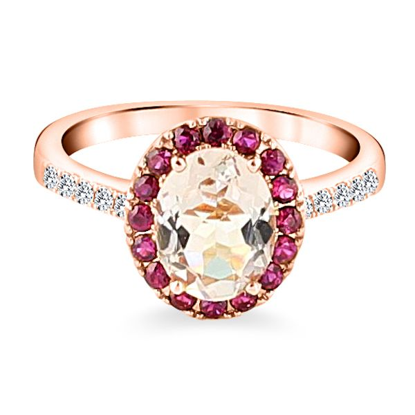 18krg Oval Morganite Dias Rubies Ring