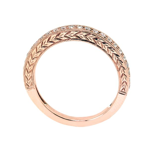 14k Red-Pink Gold Band 24 rbc=0.26cts t.w. Engraved Sides - image 2