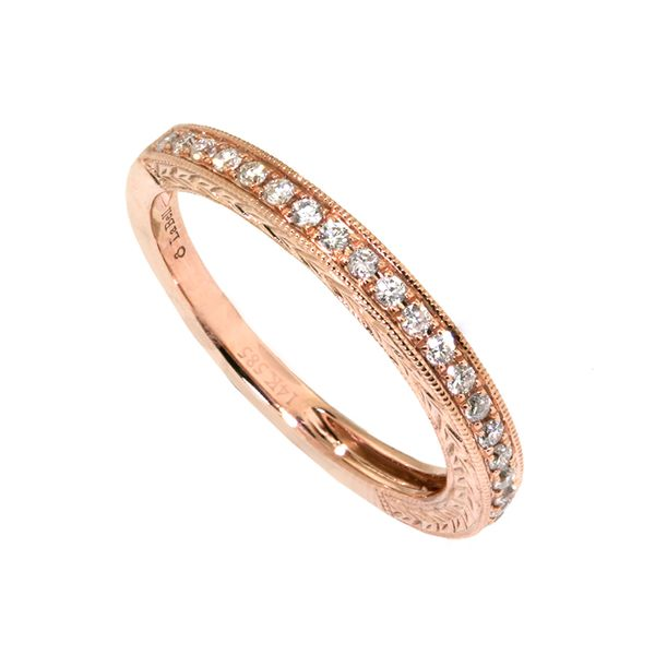 14k Red-Pink Gold Band 24 rbc=0.26cts t.w. Engraved Sides