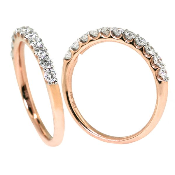 14kt Red-Pink Gold Dia Wedd. Band 11 rbc=0.48cts t.w - image 2