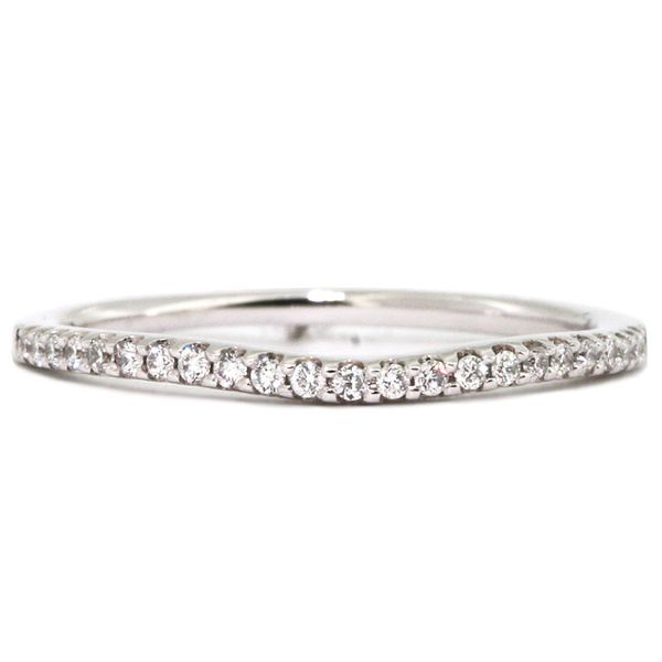 Thin Platinum curved diamond wedding band Washington Diamond Falls Church, VA