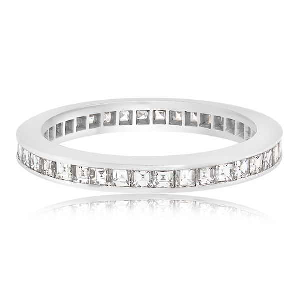 Plat Tiffany Eternity WB 39 Asscher=1.0ct F-G VS - image 2