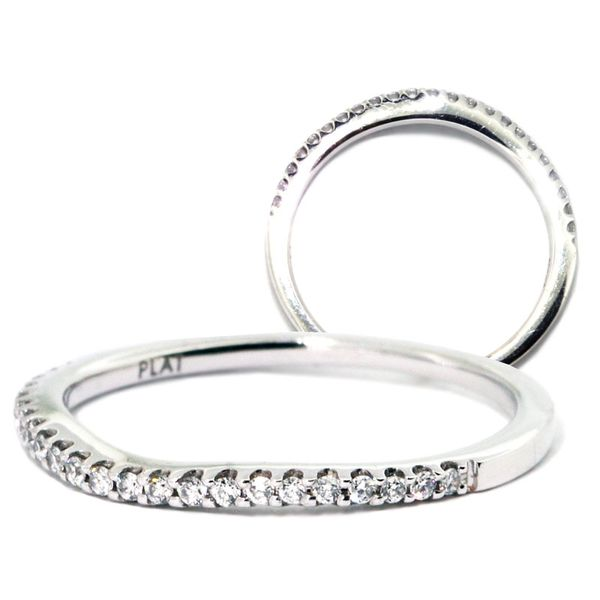 Plat Curved-Fit Dia Band 23rdc=.14ct - image 2