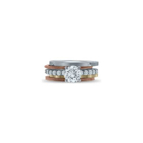 14K 1mm Textured Stackable Band - image 2