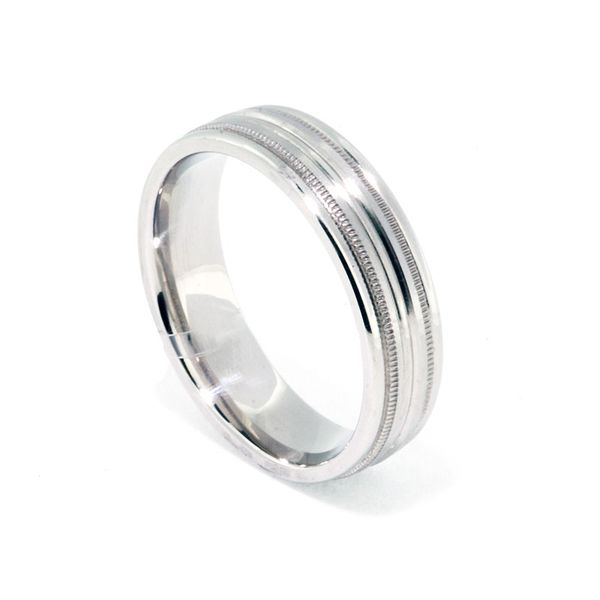 Platinum 6mm Satin & High Polish Double Milgrain Ribbed Band - image 2