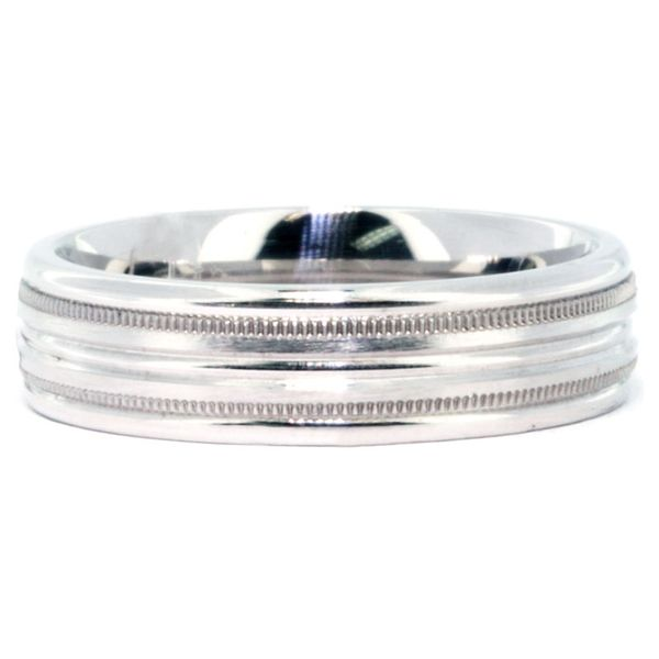 Platinum 6mm Satin & High Polish Double Milgrain Ribbed Band