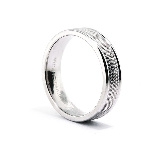 Platinum 6mm Multi-Milgrain Ctr Band- Polished Edges - image 2