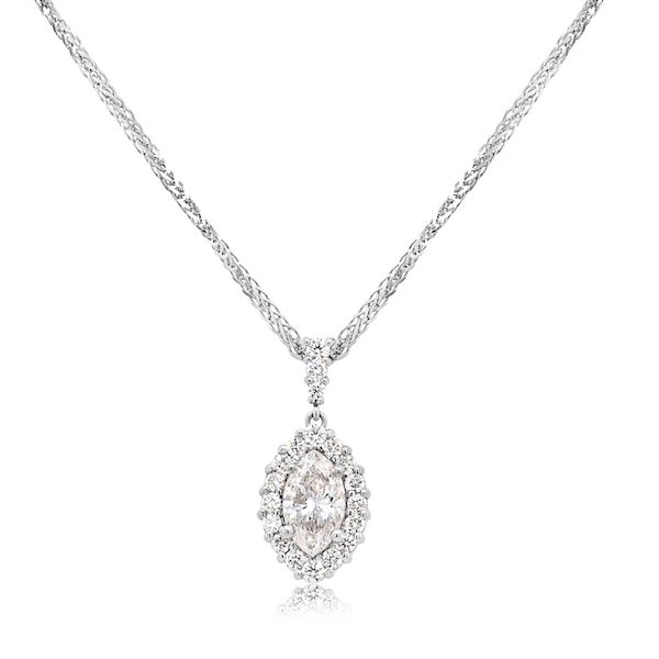 Plat Marq Diamond Halo Pendant 1.07cts F Color - image 2