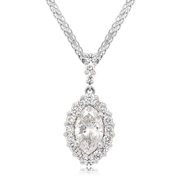 Plat Marq Diamond Halo Pendant 1.07cts F Color