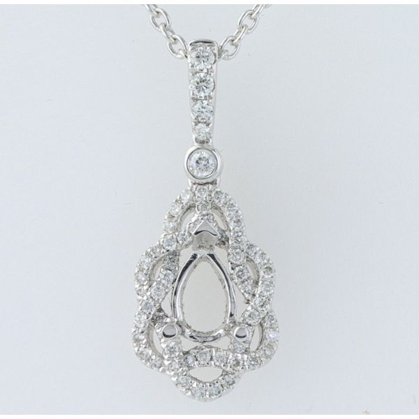 18kwg Interwoven Diamond Sem-Mnt Pendant Setting for 6x4 Pear 58=.19 - image 2