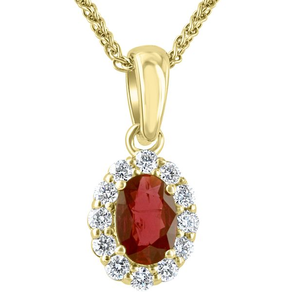 18kyg .42ct Oval Ruby & Dias(.20ct) Pendant - image 2