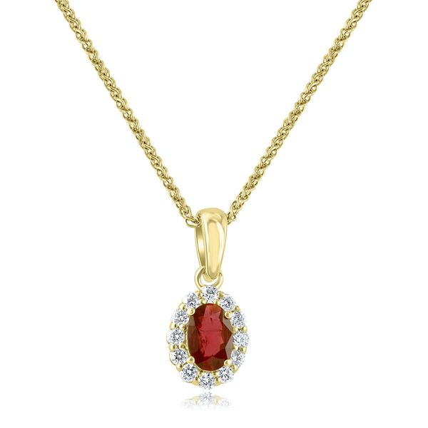 18kyg .42ct Oval Ruby & Dias(.20ct) Pendant