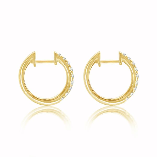 14ky Dia Hoop Earrings 18rbc=0.56cttw - image 3