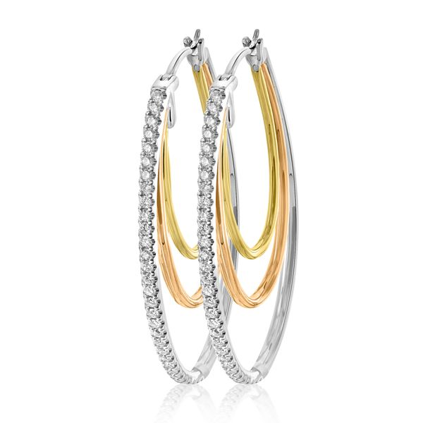 14k 3-color Oval Hoop Earr 64rbc=.63cts
